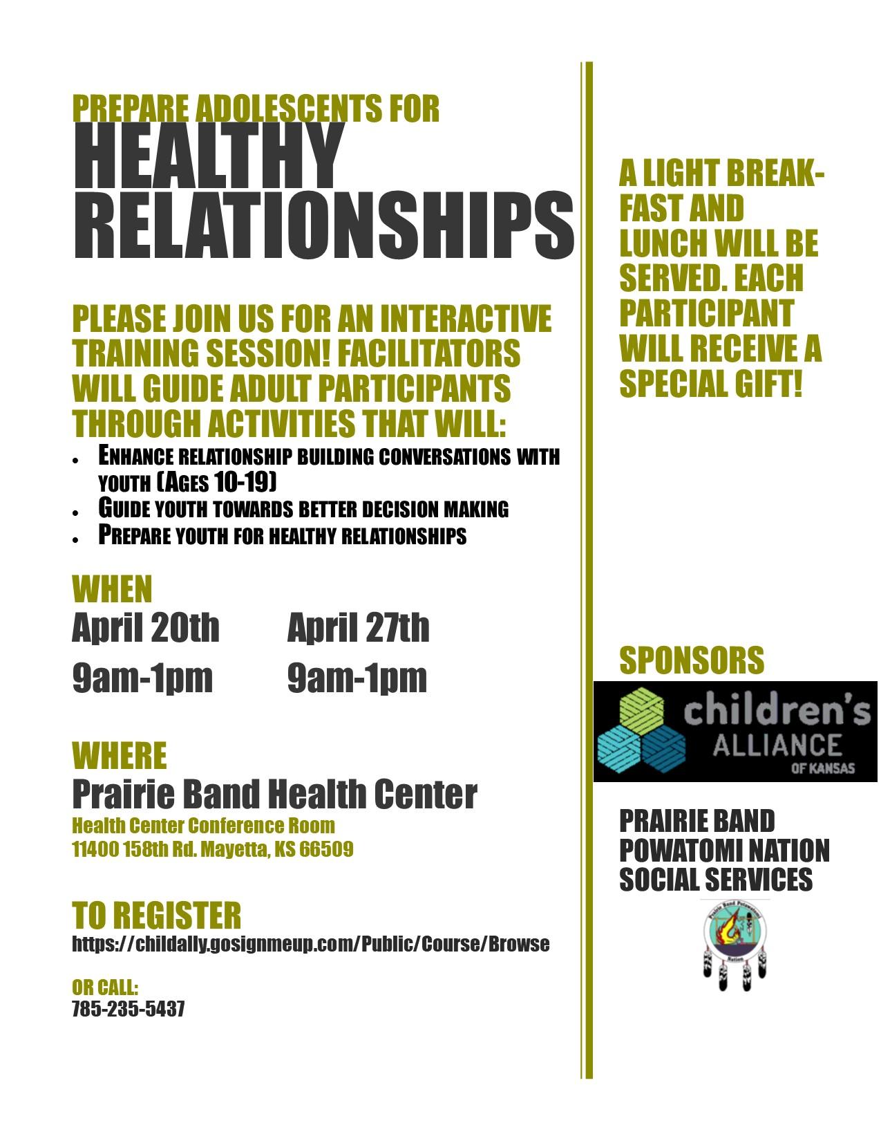 Healthy Relationships Training Prairie Band Potawatomi Nation